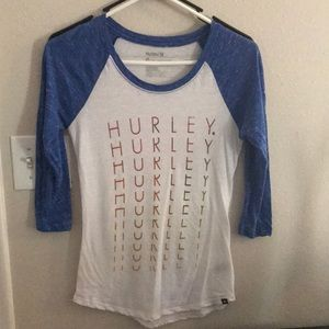 XS white and blue Hurley baseball-T